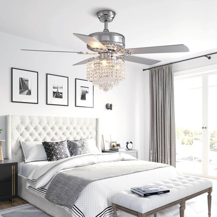 Wood Blades Reversible Ceiling Fan with Crystal For Bedroom