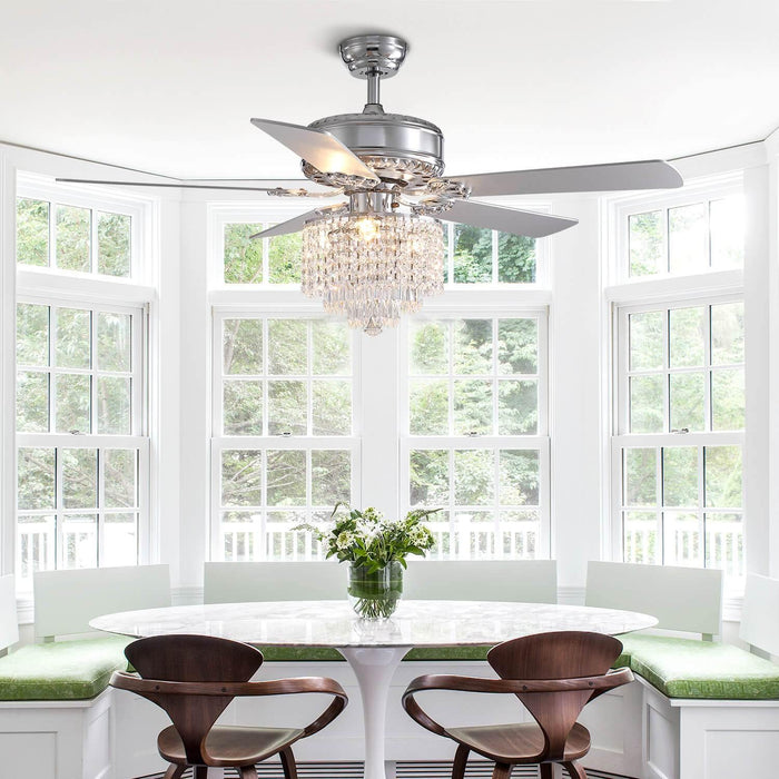 Wood Blades Reversible Ceiling Fan with Crystal For Dining Room