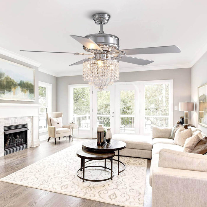 Wood Blades Reversible Ceiling Fan with Crystal For Living Room
