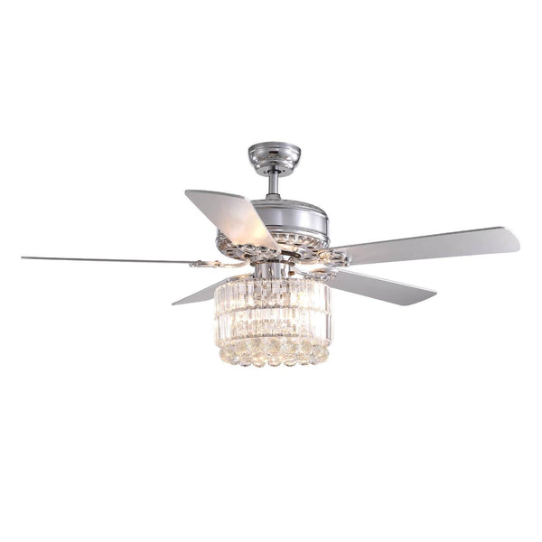 Chrome Wood Blades Reversible Ceiling Fan with Crystal - 7PM LIGHTING