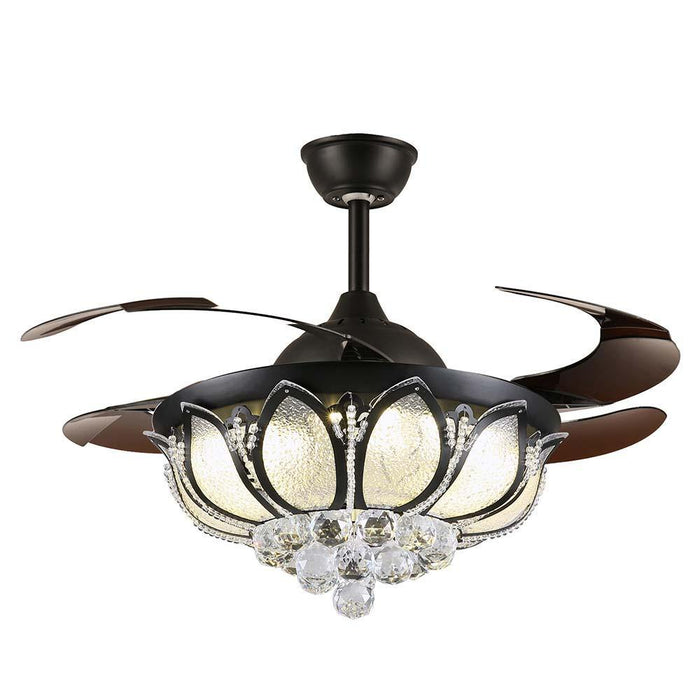 Retractable Bladess Crystal Ceiling Fan - 7PM LIGHTING
