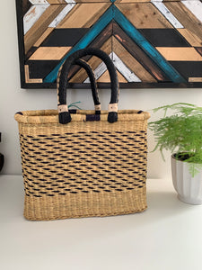 Square Shopper Lg Navy Weave