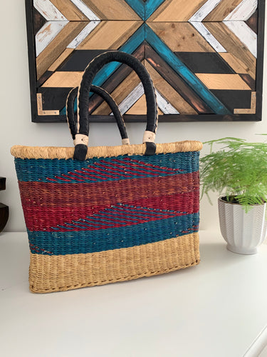 Square Shopper Lg Red & Blue