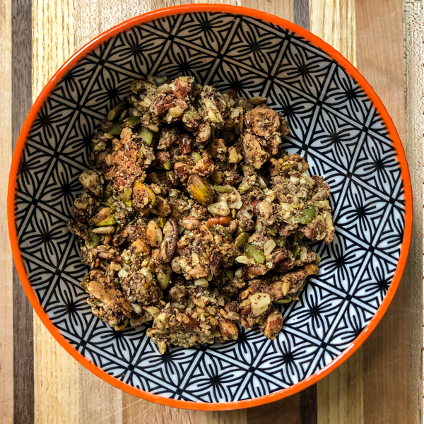 nut + seed + butter + spice  low carb grain-free granola