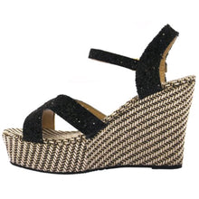 Miss Beaut- LAST SUMMER STOCK- Black Glitter Wedges UK 7 - Miss Beaut