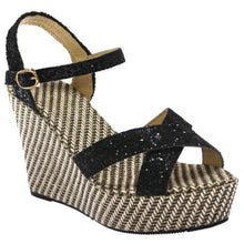Miss Beaut- LAST SUMMER STOCK- Black Glitter Wedges UK 8 - Miss Beaut