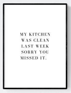 Clean Kitchen Artwork Poster Print A3/A4 Download - Miss Beaut