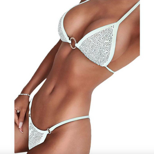 'Lucy' Women's Rhinestone Crystal Diamanté Push-up Bikini Set Black or White - Miss Beaut