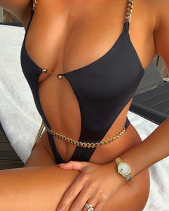 'Demi' Chain Strap Cutout Backless One-Piece Swimsuit in Black