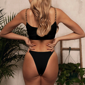 'Serilda' Chain Design Two Piece Bikini Set in Black - Miss Beaut