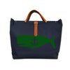 IVY  WHALE CANVAS TOTE NAVY/GREEN