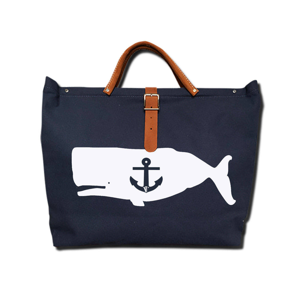 IVY WHALE CANVAS TOTE NAVY/WHITE