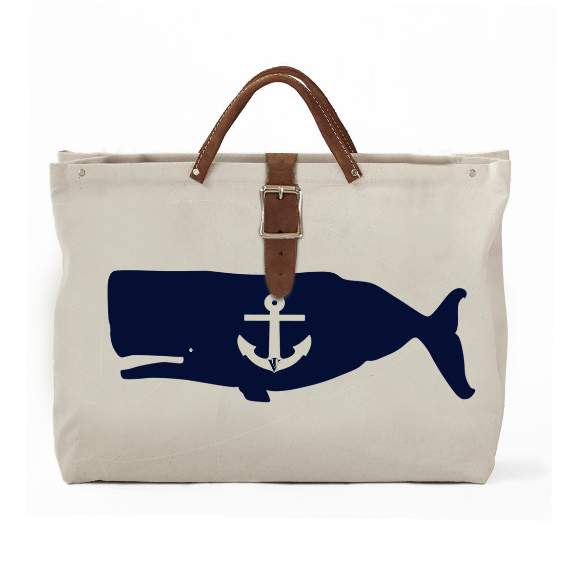 IVY WHALE CANVAS TOTE NATURAL/NAVY