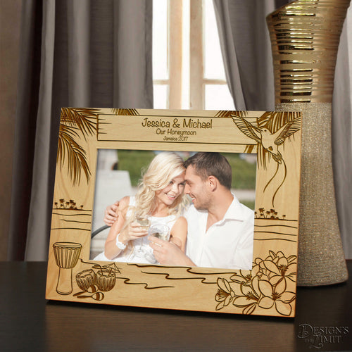 Jamaican Moments Inspired Personalized Picture Frame with Your Choice of Any Font From Our Selection (Select Size & Frame Orientation) - Design's the Limit