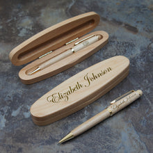 Personalized Maplewood Pen Set with Engraved Pen Case and Choice of Personalized Pen, Pencil, or Letter Opener (Each - Enter Name & Font) - Design's the Limit