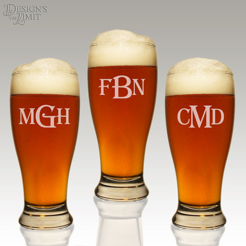 Personalized Pilsner Glasses Monogrammed in Any Combination of Fonts from Our Selection (Each) - Design's the Limit