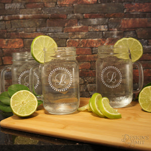 Personalized Mason Jars with Straw Lid Monogrammed with Design Options & Font Selection (Each)