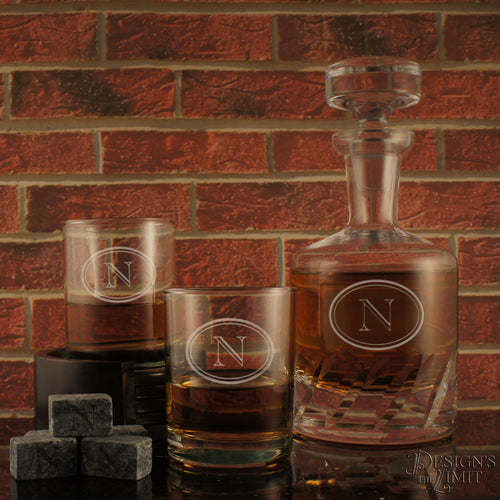 Connoisseur Distiller's Decanter and Stopper with Deep-Sand Carved Personalization with Choice of Design & Font from Our Selection (Each)