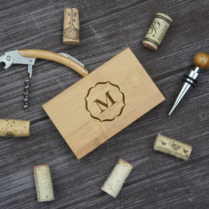 Personalized Wine Stopper Tool Set with Monogrammed Corkscrew & Engraved Bamboo Case with Monogram Design Options and Font Selection (Each) - Design's the Limit