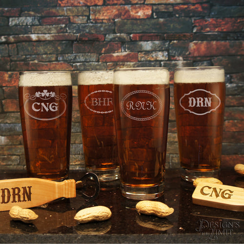Personalized English Pub Beer Drinking Glasses with Engraved Monogram Designs & Font Selection OPTIONAL Monogrammed Magnetic Bottle Openers - Design's the Limit