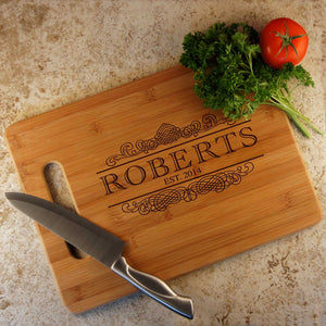 Personalized Bamboo Cutting Board with Family Monogram Design Options and Font Selection (Select Size) - Design's the Limit