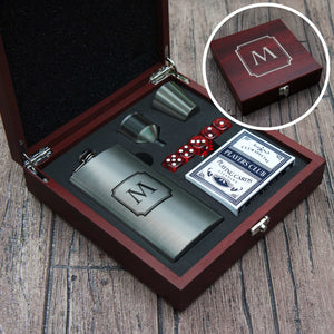 Personalized Flask Gift Set with Playing Cards & Dice Engraved with Design Option and Font Selection in Case (Each) - Design's the Limit