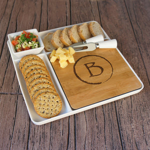 Monogrammed Cutting Board & Ceramic Serving Platter Set with Ceramic Tray, Bowl, and Cheese Tools - Design's the Limit