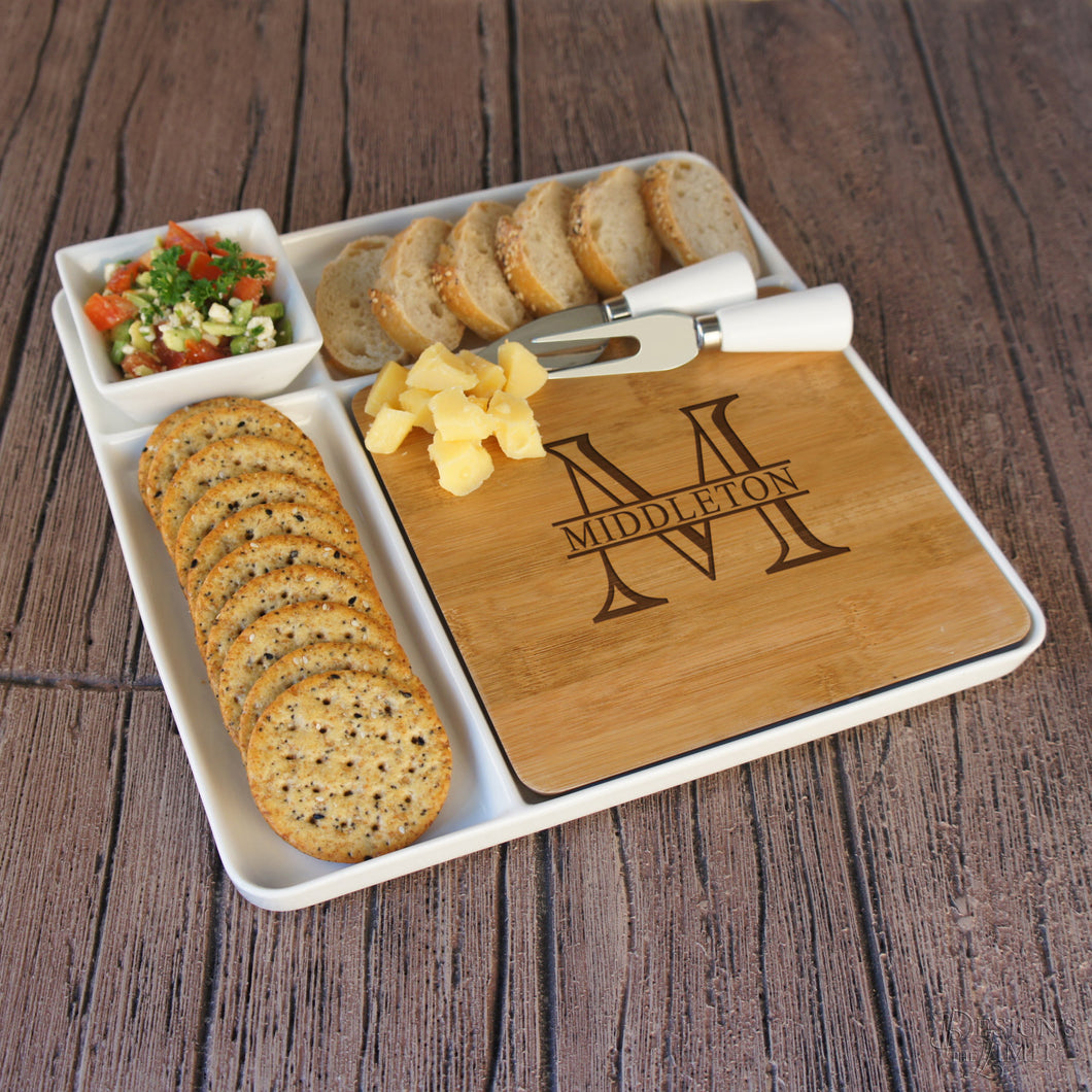 Cutting Board & Ceramic Serving Platter Set with Ceramic Tray, Bowl, and Cheese Tools Engraved with Overlapping Monogram Options - Design's the Limit