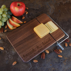 Personalized Cheese Board with Stainless Steel Cheese Wire & Handle Engraved with Monogram Design Elements and Font Selection (Each) - Design's the Limit