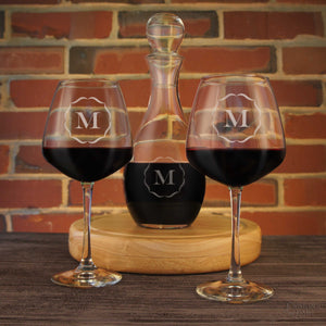 Personalized Diamond Wine Glasses with Selection of Design Options in Second Image and Wine Decanter with Stopper Available on Menu - Design's the Limit