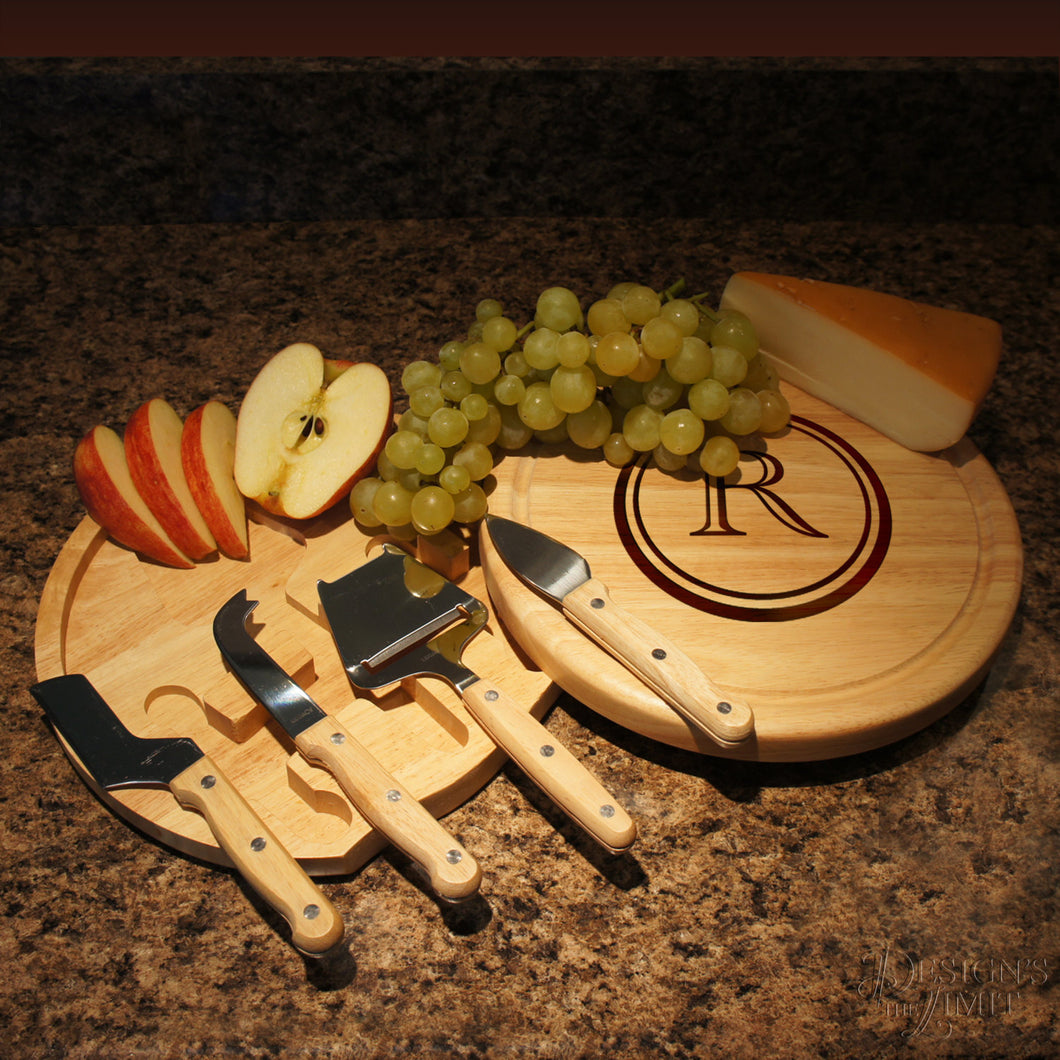 Personalized Cheese Board and Tool Set with Monogram Options & Engraved Font Selection (Each - 10