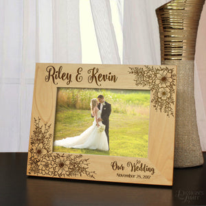 Rustic Wedding Arrangement Bouquet Picture Frame (Select Frame Size and Orientation) and then Enter Personalized Text & Font Selection - Design's the Limit