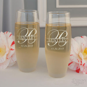Personalized Stemless Champagne Toasting Flutes with Overlapping Monogram Designs & Optional Sand Frosted Base (Set of Two - 9 oz. Flutes)