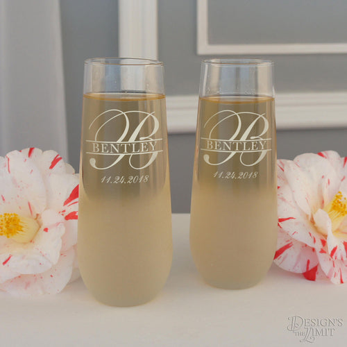 Personalized Stemless Champagne Toasting Flutes with Overlapping Monogram Designs & Optional Sand Frosted Base (Set of Two - 8.5 oz. Flutes)