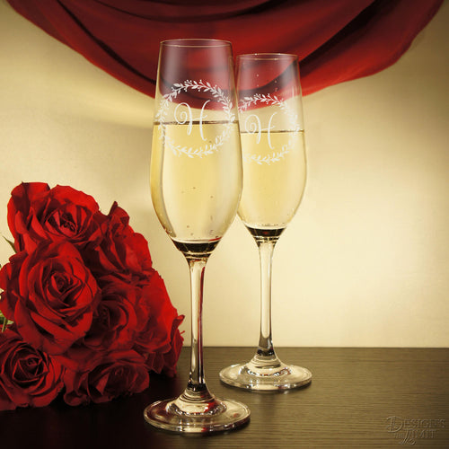 Monogrammed Crystal Champagne Toasting Flutes Engraved with Monogram Design Options and Font Selection (Each) Engraved Crystal Stemware - Design's the Limit