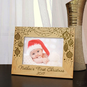 Personalized Christmas Ornament Picture Frame Engraved with Text in Any Font from Our Selection (Select Frame Size and Orientation) Each - Design's the Limit