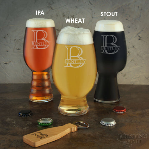 Personalized Craft Beer Gift Set of IPA, Stout, & Wheat Beer Glasses Engraved with Monogram Design Options with Font Selection (Set of 3) - Design's the Limit