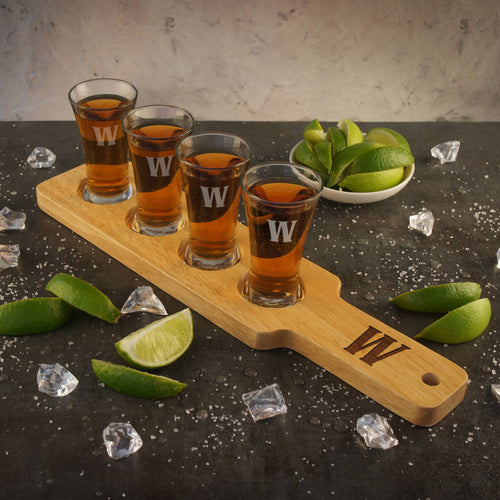 Personalized Shot Glass Flight Serving Tray Engraved with Font Selection (Includes Four Glasses and Wood Flight)