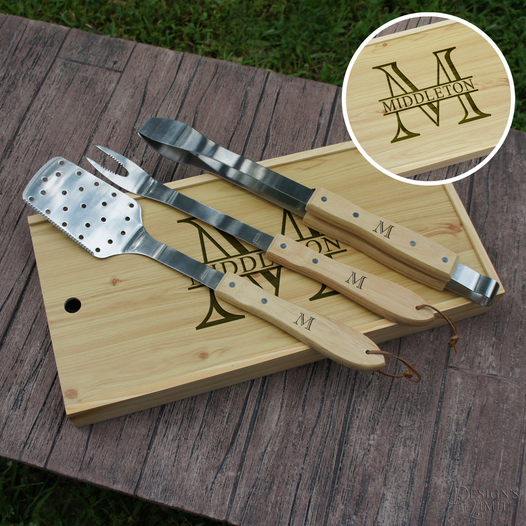 Personalized BBQ Tool Set with Engraved Case including Family Monogram Design Options & Monogrammed Tool Handle Options (Gift Set) - Design's the Limit