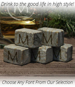 Monogrammed Whiskey Stones Gift Sets including Gift Pouch - Choose Any Font - Engraved up to 4 Letters (Up to 12 Stones Per Set) - Design's the Limit