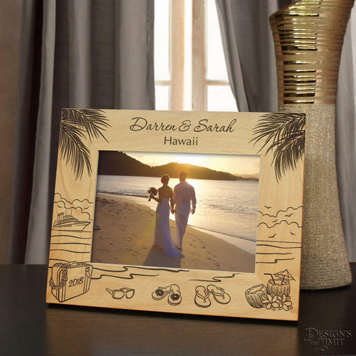 Island Retreat Inspired Picture Frame Including Your Hawaiian Vacation Information with Font Selection (Select Size and Frame Orientation) - Design's the Limit