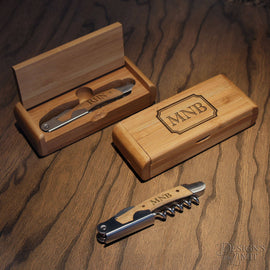 Designs Deluxe Personalized Wine and Bottle Opener Bamboo Tool Set in Bamboo Case with Personalization Options & Font Selection - Design's the Limit