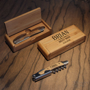 Deluxe Personalized Groomsman Wine and Bottle Opener Bamboo Tool Set with Wedding Party Monogram Options and Font Selection (Each) - Design's the Limit