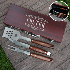 Personalized BBQ Tool Set Engraved with Font Selection including Three Piece Tool Set in Case (Each) - Design's the Limit