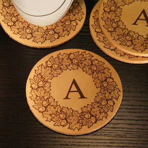 Personalized Leather Coasters Engraved with Your Choice of Our Monogram Design Options & Substitute Any Font From Our Selection (Each) - Design's the Limit