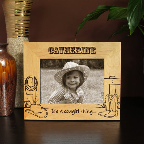 Cowboy and Cowgirl Inspired Picture Frame Designs with Font Selection (Select Size, Design, and Frame Orientation) - Design's the Limit