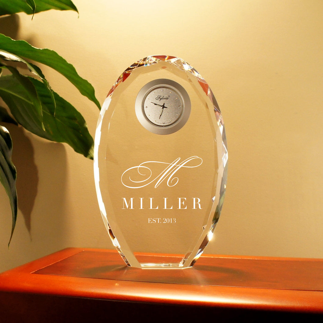 Personalized Cystal Clock Engraved with Choice of Design or Font Selection (Each - Optic Crystal Faceted Oval) Click Main Image for Options - Design's the Limit