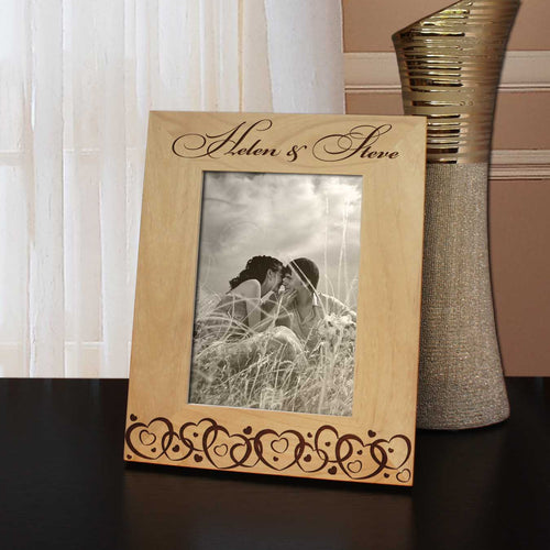 Joined Hearts Inspired Personalized Valentines Picture Frame with Font Selection (Select Size and Frame Orientation) - Design's the Limit