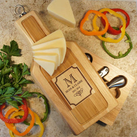 "Design's Wine and Cheese Board and Tool Set with Monogram Design Options & Font Selection (Each - 13"" x 6"") - Design's the Limit"