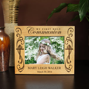 Design 'First Communion' Picture Frame with Design Option & Font Selection (Select Size and Frame Orientation) - Design's the Limit